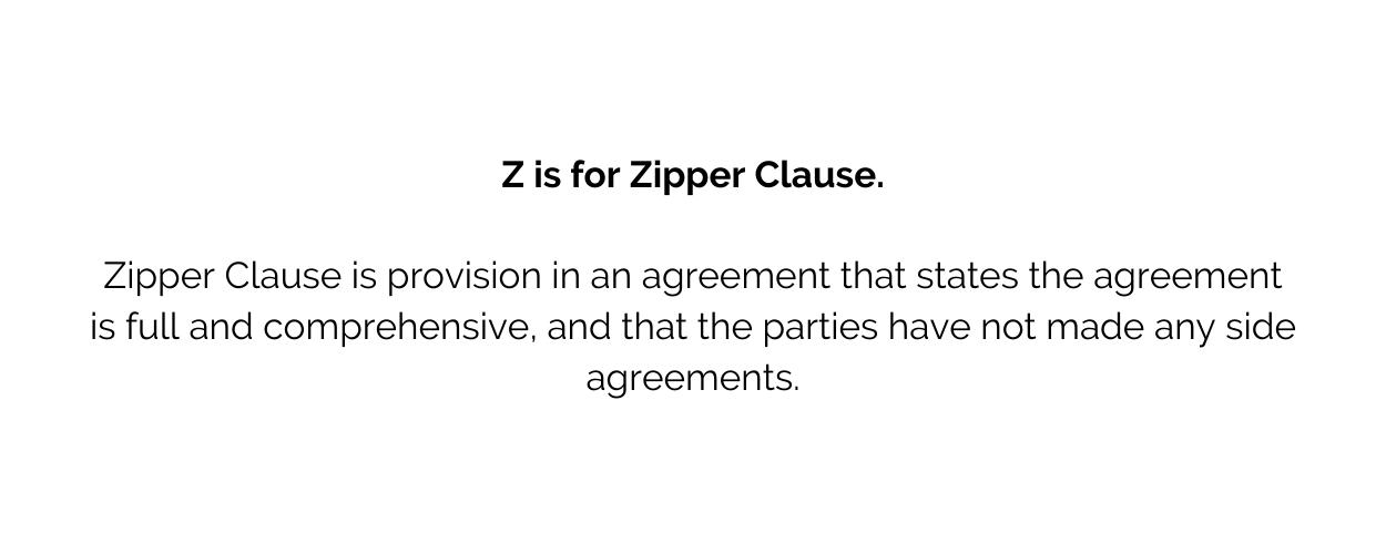 Zipper Clause